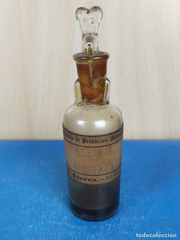 EXTRACTO ESENCIA MOSTAZA CRISTAL FARMACIA (Antigüedades - Cristal y Vidrio - Farmacia )