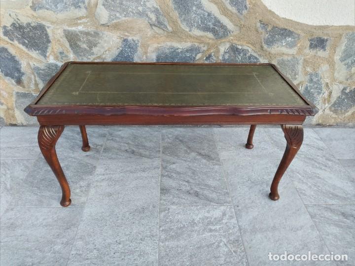 Antigüedades: Antigua mesa de fumador estilo luis xv, con cuero verde en la supercicie. - Foto 2 - 246961505