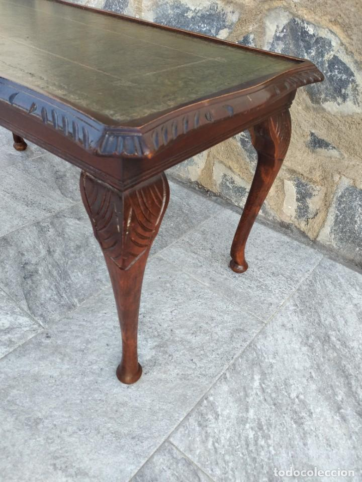 Antigüedades: Antigua mesa de fumador estilo luis xv, con cuero verde en la supercicie. - Foto 5 - 246961505