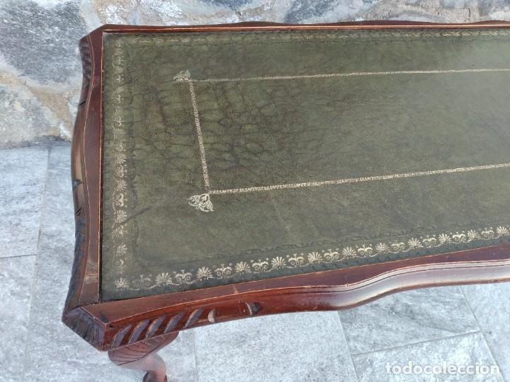Antigüedades: Antigua mesa de fumador estilo luis xv, con cuero verde en la supercicie. - Foto 7 - 246961505
