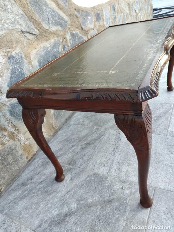 Antigüedades: Antigua mesa de fumador estilo luis xv, con cuero verde en la supercicie. - Foto 8 - 246961505