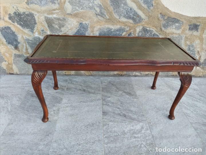 Antigüedades: Antigua mesa de fumador estilo luis xv, con cuero verde en la supercicie. - Foto 9 - 246961505