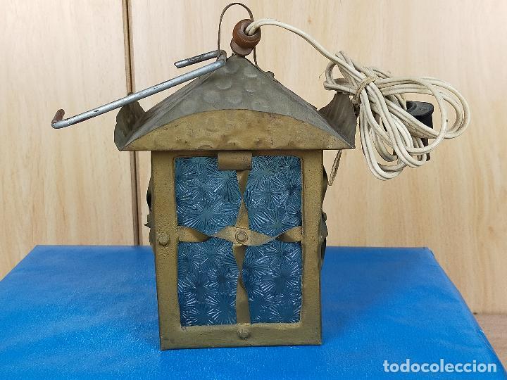 FAROL LAMPARA EN METAL FORJADO Y VIDRIO (Antigüedades - Iluminación - Faroles Antiguos)