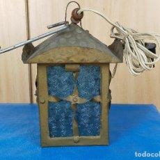 Antigüedades: FAROL LAMPARA EN METAL FORJADO Y VIDRIO. Lote 246971265