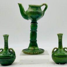 Antiquités: TRES RECIPIENTES DE BARRO. PACO TITO ÚBEDA. Lote 246997085