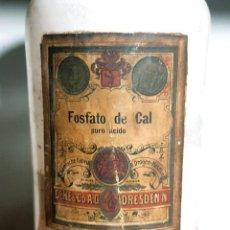 Antigüedades: FRASCO ANTIGUO DE FARMACIA FOSFATO DE CAL. Lote 206406990
