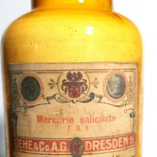 Antigüedades: FRASCO ANTIGUO DE FARMACIA MERCURIO SALICILATO. Lote 206456226
