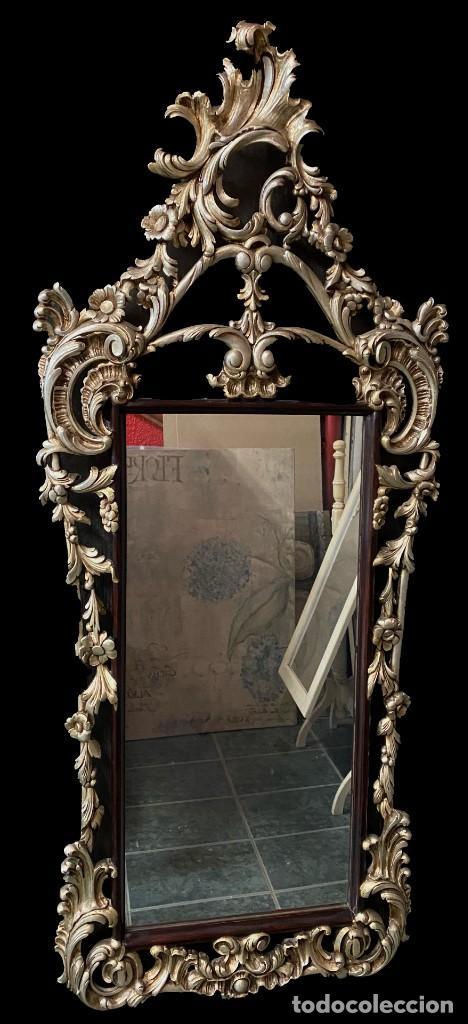 ANTIGUO ESPEJO, CORNUCOPIA DE MADERA CON PLATA CORLADA. 140X58. (Antigüedades - Muebles Antiguos - Espejos Antiguos)