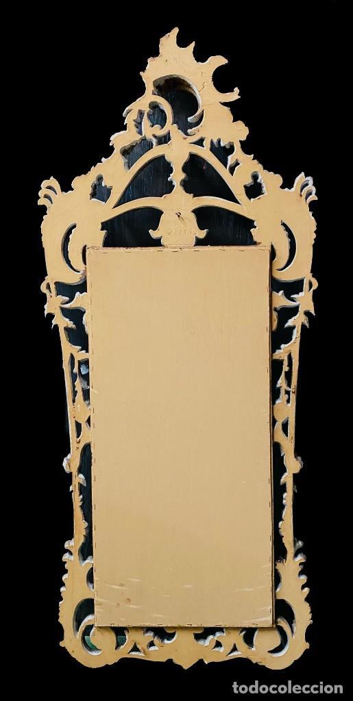 Antigüedades: Antiguo espejo, cornucopia de madera con plata corlada. 140x58. - Foto 4 - 247003820