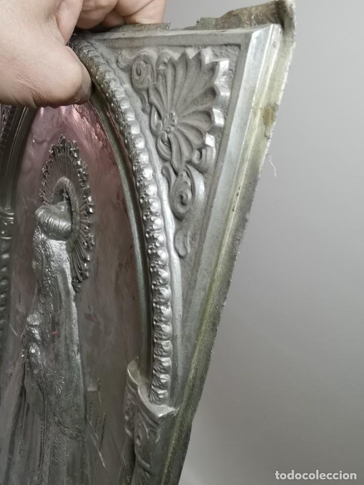 Antigüedades: CUADRO VIRGEN NUESTRA SEÑORA DEL CASTAÑAR-BEJAR -SALAMANCA-METAL CINCELADO Y REPUJADO.FIRMA MORERA. - Foto 28 - 247103550