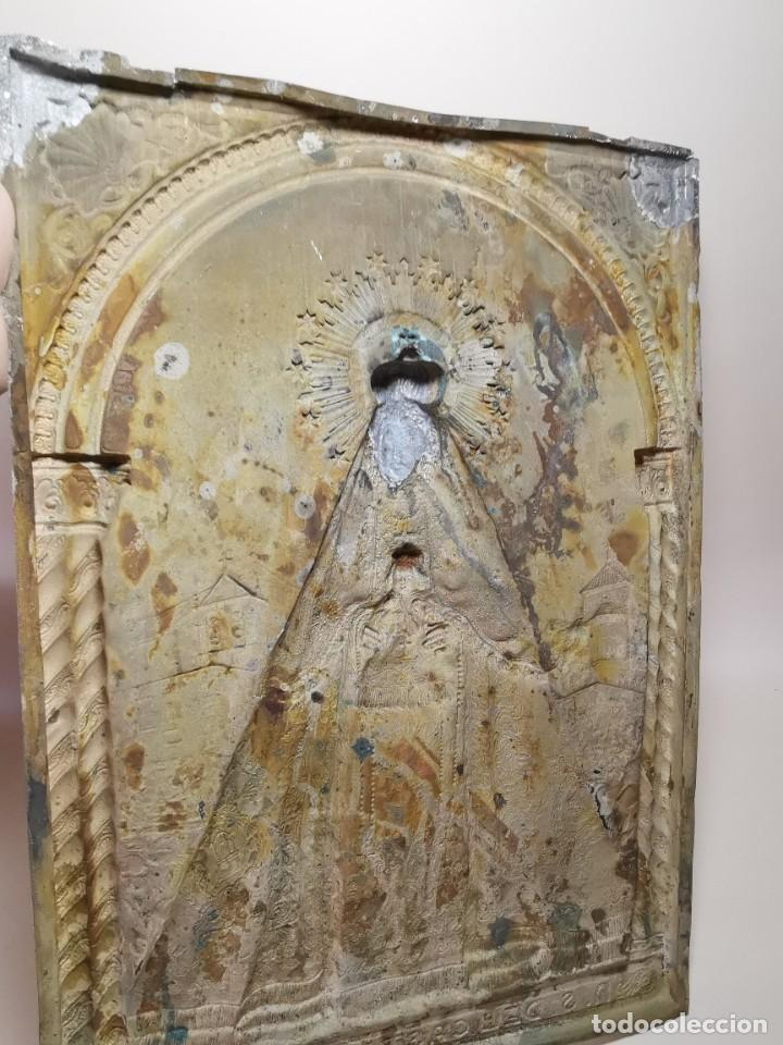 Antigüedades: CUADRO VIRGEN NUESTRA SEÑORA DEL CASTAÑAR-BEJAR -SALAMANCA-METAL CINCELADO Y REPUJADO.FIRMA MORERA. - Foto 33 - 247103550