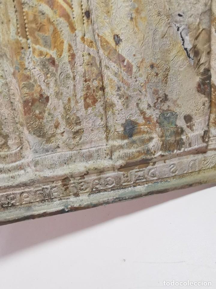 Antigüedades: CUADRO VIRGEN NUESTRA SEÑORA DEL CASTAÑAR-BEJAR -SALAMANCA-METAL CINCELADO Y REPUJADO.FIRMA MORERA. - Foto 36 - 247103550