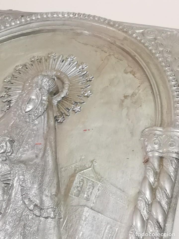 Antigüedades: CUADRO VIRGEN NUESTRA SEÑORA DEL CASTAÑAR-BEJAR -SALAMANCA-METAL CINCELADO Y REPUJADO.FIRMA MORERA. - Foto 49 - 247103550