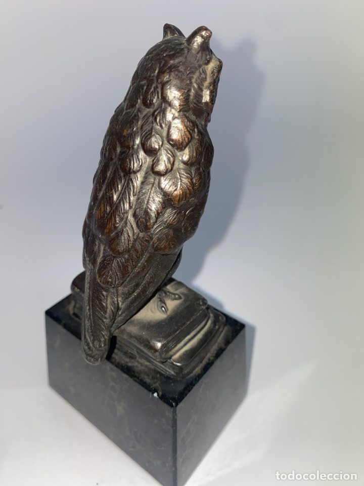 Antigüedades: FIGURA DE UN BUHO EN METAL PLATEADO. BASE DE MARMOL. MEDIADOS S.XX. - Foto 5 - 247143200