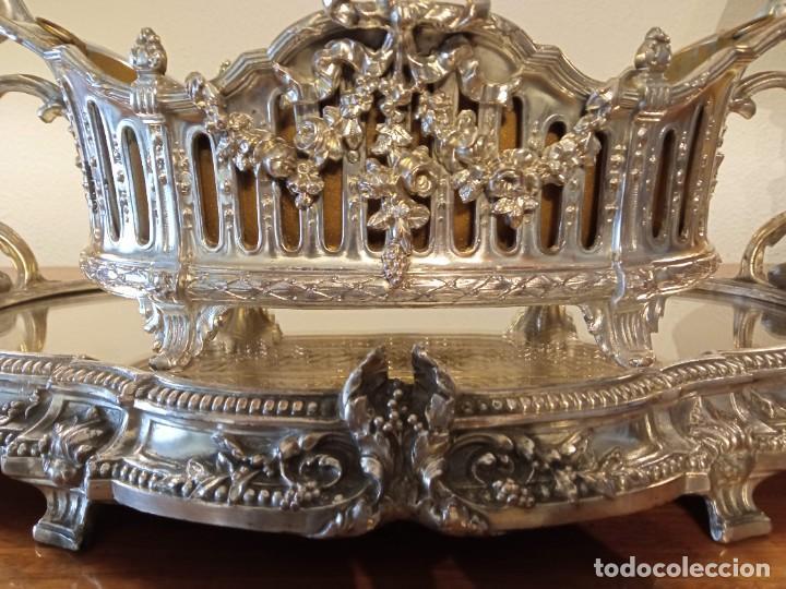 Antigüedades: Surtout de table Louis XVI y Jardinera. Metal plateado - Foto 2 - 247144195
