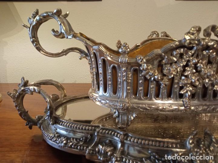Antigüedades: Surtout de table Louis XVI y Jardinera. Metal plateado - Foto 6 - 247144195