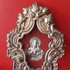 Antigüedades: ANTIGUO RELICARIO - SAGRADO CORAZON - METAL Y CRISTO DE PLATA C. 1940. Lote 247164225