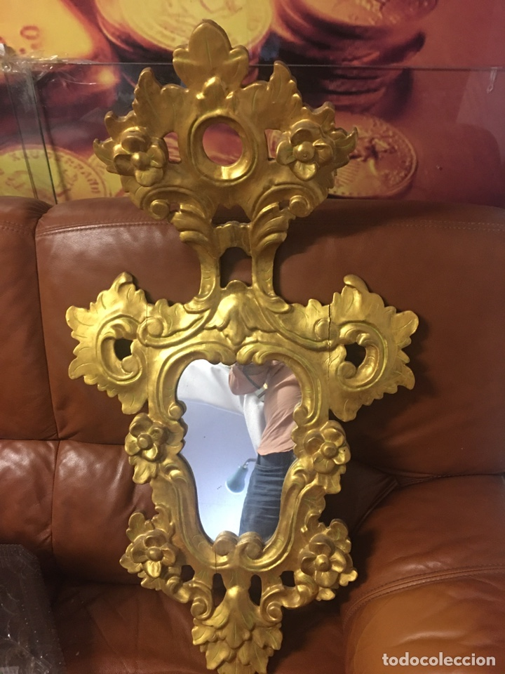 Antigüedades: Espejo Sec XXVlll / XlX cornucopias con marcos en madera tallada y fino pan de oro. - Foto 6 - 247173285