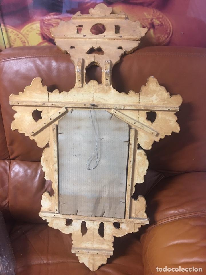 Antigüedades: Espejo Sec XXVlll / XlX cornucopias con marcos en madera tallada y fino pan de oro. - Foto 10 - 247173285