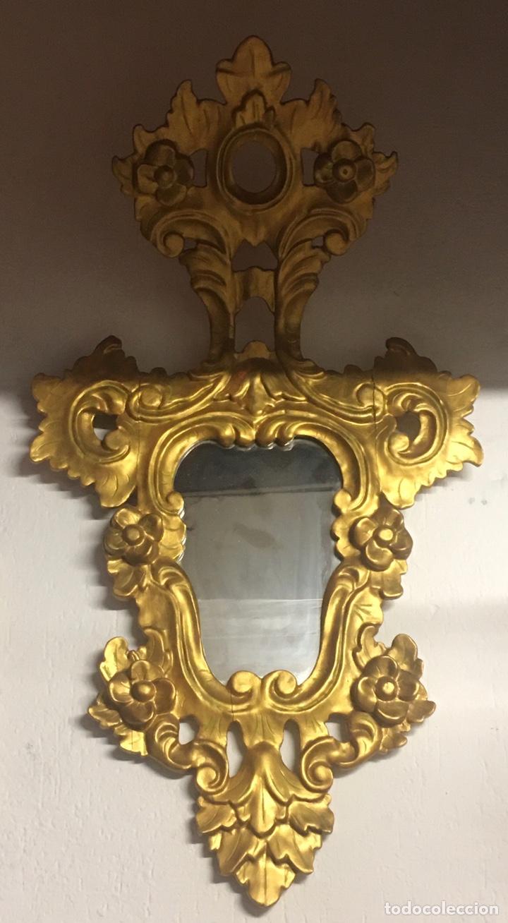 Antigüedades: Espejo Sec XXVlll / XlX cornucopias con marcos en madera tallada y fino pan de oro. - Foto 11 - 247173285