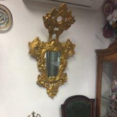 Antigüedades: ESPEJO SEC XXVLLL / XLX CORNUCOPIAS CON MARCOS EN MADERA TALLADA Y FINO PAN DE ORO.. Lote 247173285