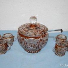 Antigüedades: PONCHERA 6 SERVICIOS EN CRISTAL BOHEMIA. Lote 247190840