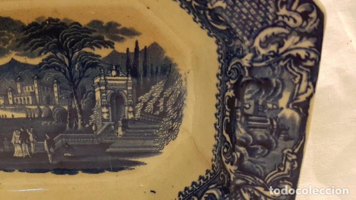 Antigüedades: FUENTE BANDEJA SAN JUAN AZNALFARACHE SXIX COLOR AZUL - Foto 6 - 247193560
