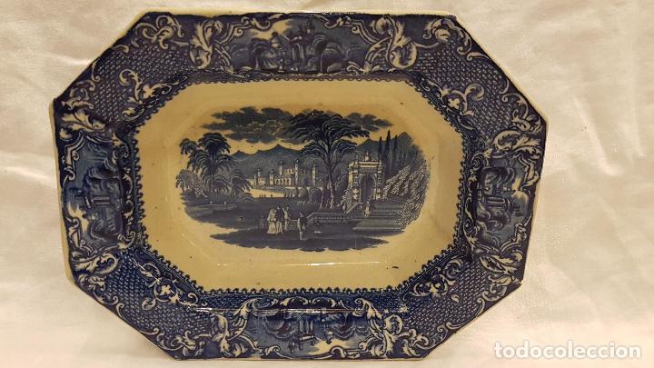 FUENTE BANDEJA SAN JUAN AZNALFARACHE SXIX COLOR AZUL (Antigüedades - Porcelanas y Cerámicas - San Juan de Aznalfarache)