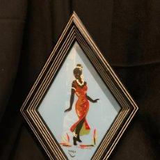 Antiquités: ENCANTADOR CUADRO VINTAGE KITSCH, DE CRISTAL PINTADO A MANO. PRECIOSA FORMA DE ROMBO. AFRICANA. Lote 247226745