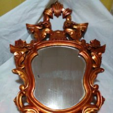 Antigüedades: ANTIGUA CORNUCOPIA-ESPEJO ORIGINAL CON MARCO DE MADERA TALLADA CON PAN DE ORO SIGLO XIX. Lote 247232810