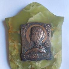 Antigüedades: BONITA BENDITERA CON IMAGEN DE LA VIRGEN MARÍA Y BASE EN ÓNIX. FIRMADA DEHELLY.. Lote 247244330