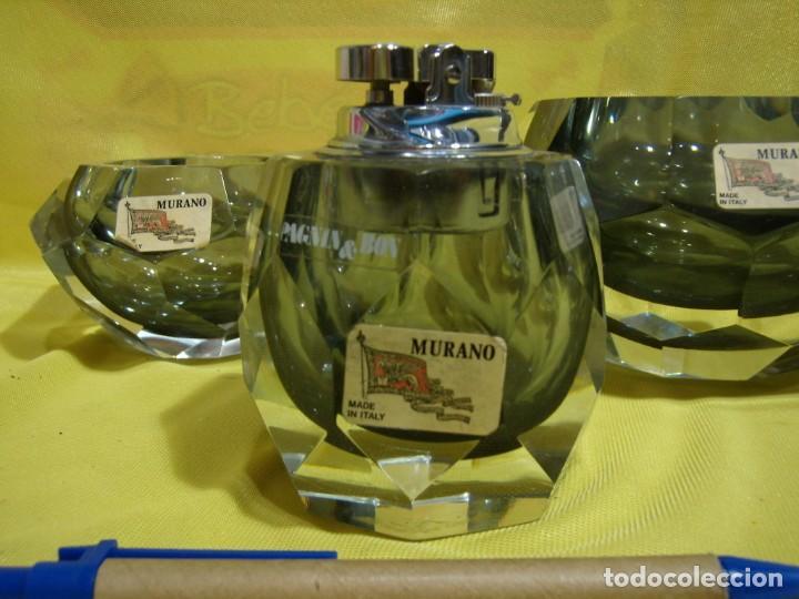 Antigüedades: Juego fumador cristal de Murano, años 70, Nuevo sin usar. - Foto 2 - 247372045