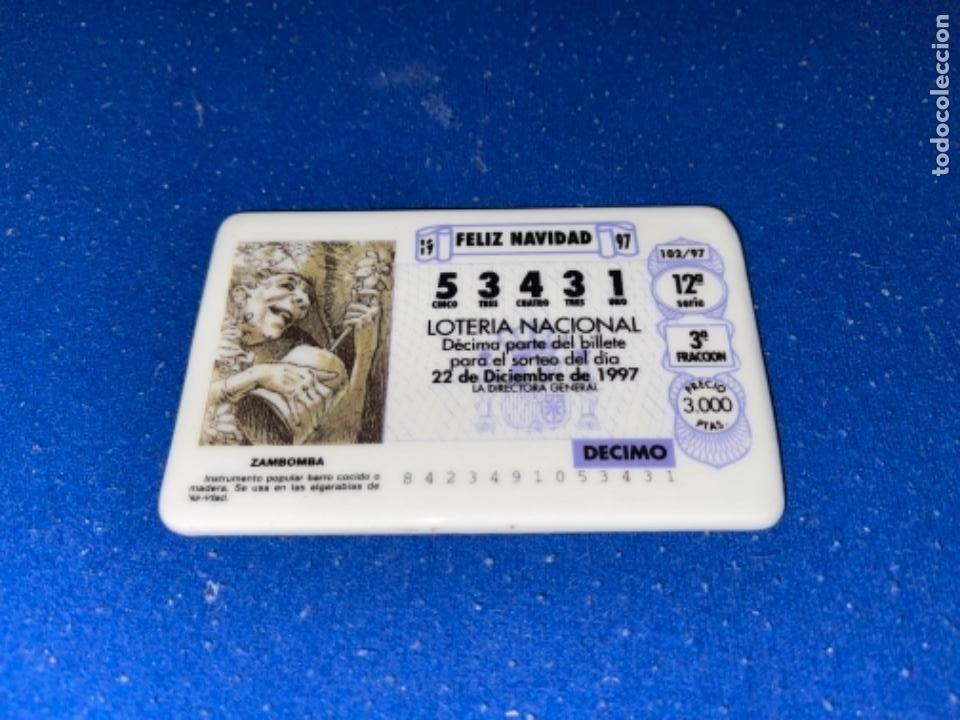 Antigüedades: Placa PORCELANA ALGORA DÉCIMO LOTERÍA NACIONAL 22 12 1997 - Foto 2 - 247434420