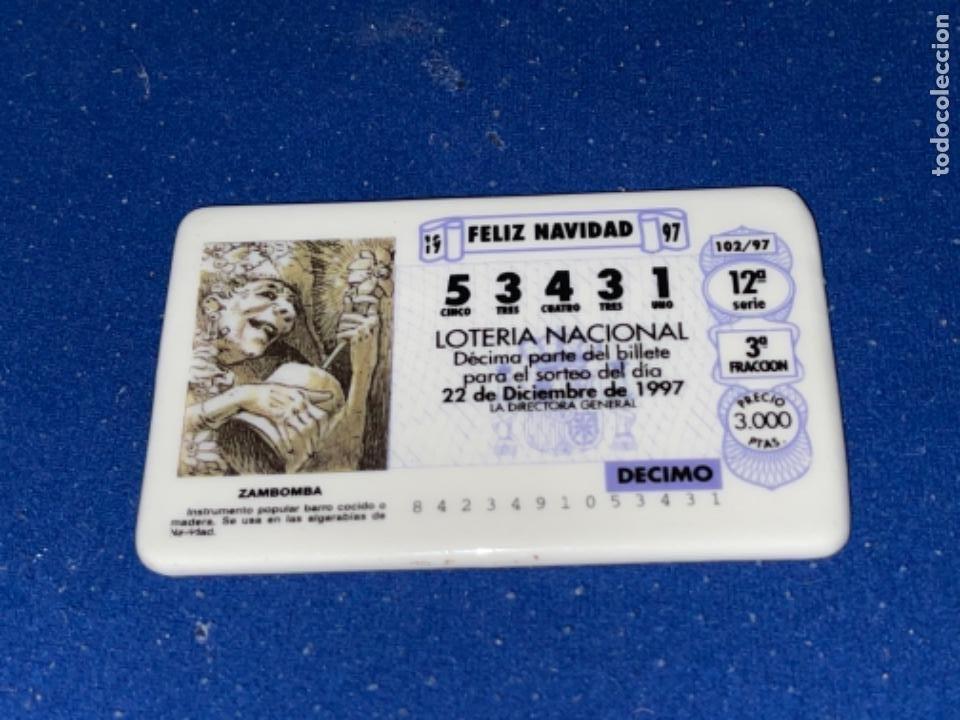 Antigüedades: Placa PORCELANA ALGORA DÉCIMO LOTERÍA NACIONAL 22 12 1997 - Foto 4 - 247434420