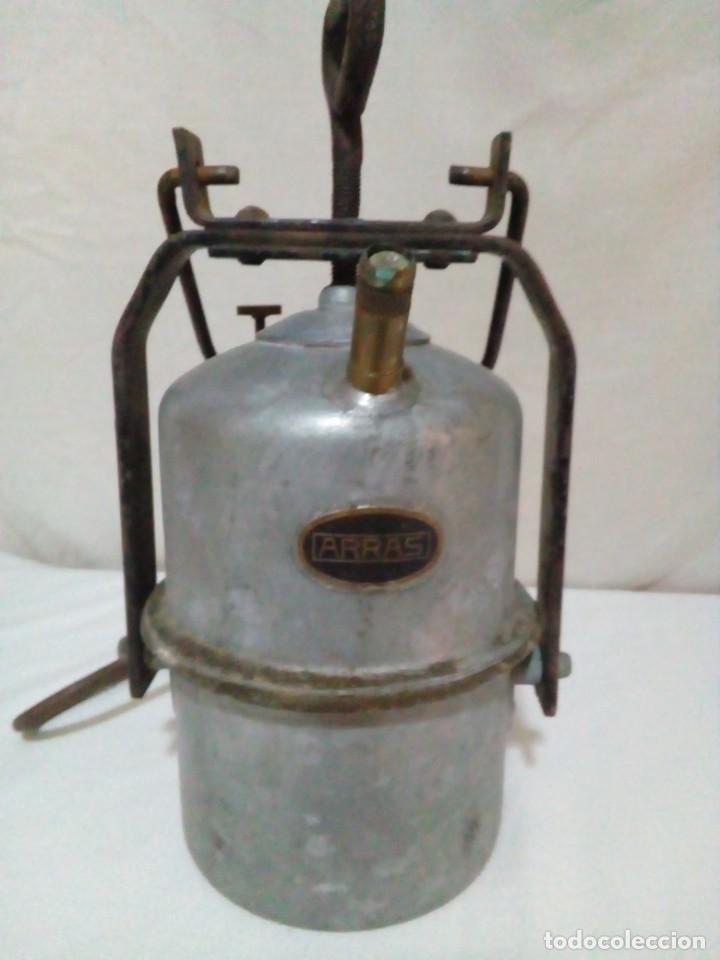 LAMPARA DE CARBURO DE MINA MARCA ARRAS (Antigüedades - Iluminación - Lámparas Antiguas)