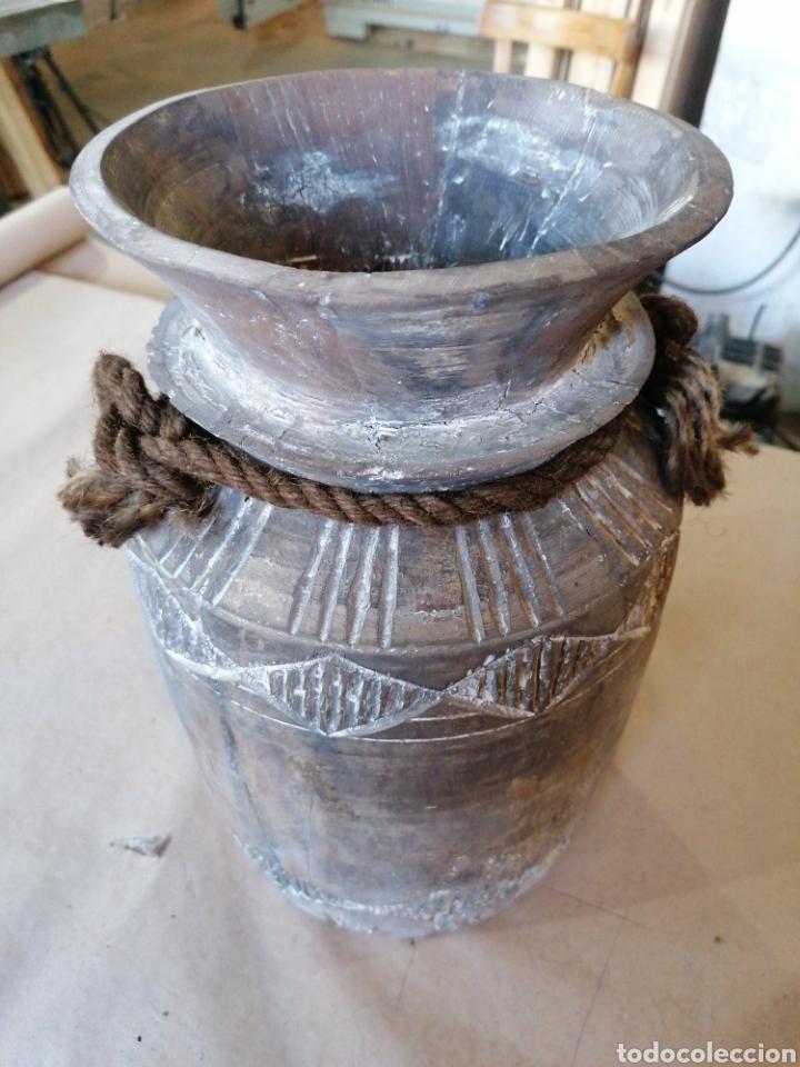 LECHERA DE MADERA (Antigüedades - Hogar y Decoración - Floreros Antiguos)