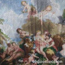 Antigüedades: TELA BORDADA EN PUNTO DE CRUZ EL RAPTO DE EUROPA DE FRANCOIS BOUCHER. PARA ENMARCAR. Lote 247558750