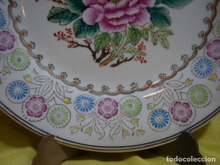 Antigüedades: Plato decorativo porcelana China, pintado a mano, años 80, Nuevo sin usar. - Foto 2 - 247678720