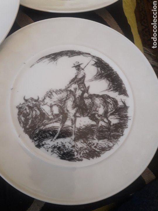 Antigüedades: Cinco platos taurinos de Porcelana Bidasoa, dibujos de Antonio Casero - Foto 2 - 247692255