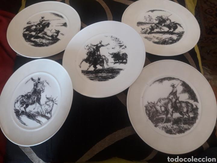 CINCO PLATOS TAURINOS DE PORCELANA BIDASOA, DIBUJOS DE ANTONIO CASERO (Antigüedades - Porcelanas y Cerámicas - Otras)
