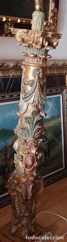 Antigüedades: ANTIGUA LAMPARA PIE MADERA TALLADA POLICROMADA - Foto 21 - 177123660