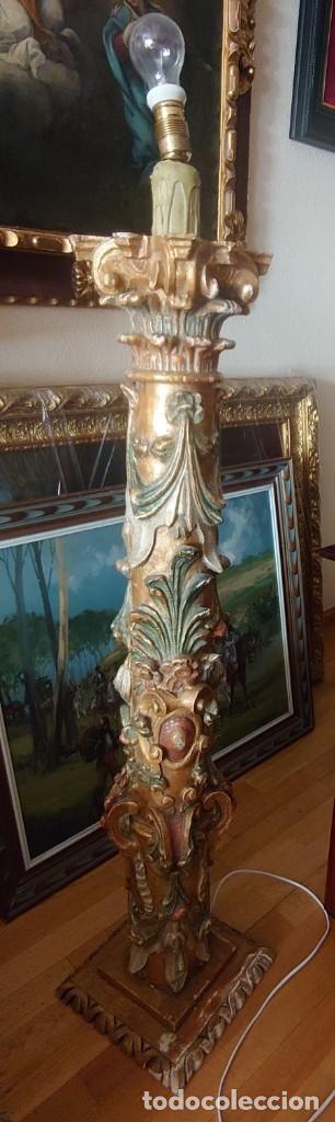Antigüedades: ANTIGUA LAMPARA PIE MADERA TALLADA POLICROMADA - Foto 22 - 177123660