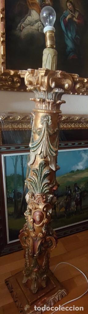 Antigüedades: ANTIGUA LAMPARA PIE MADERA TALLADA POLICROMADA - Foto 24 - 177123660