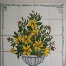 Antigüedades: MURAL JARRÓN FLORES AMARILLAS. Lote 247924370