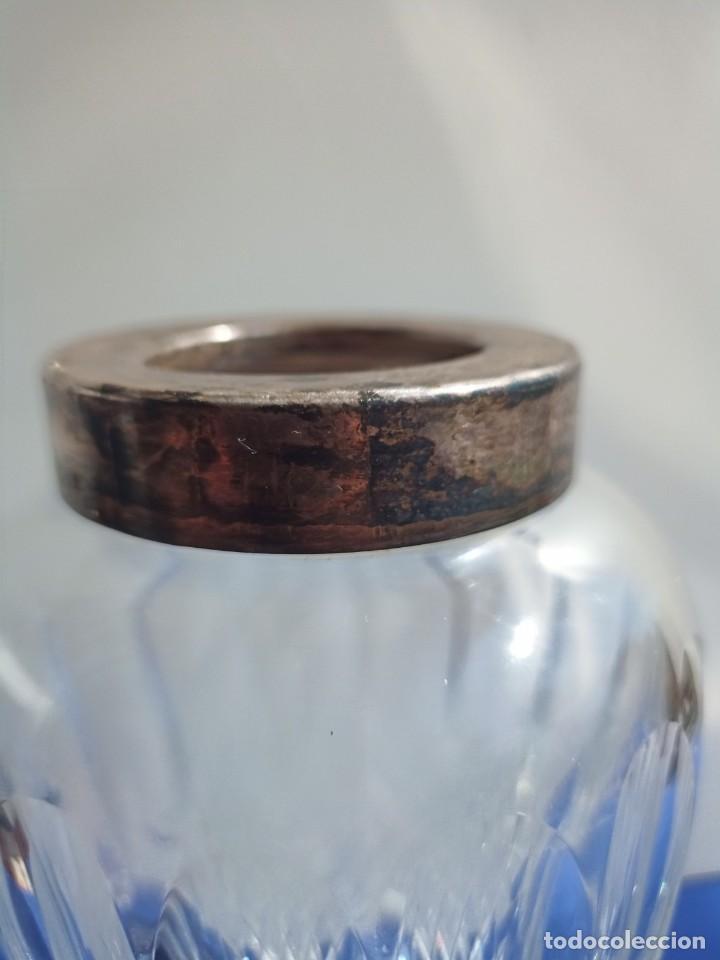 Antigüedades: Jarrón de cristal con tapa de plata 835, Alemania,Anos 1960 - Foto 2 - 247992245