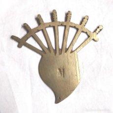 Antigüedades: VIRGEN DE LOS DOLORES ORNAMENTO PROCESIÓN CORAZON CON LAS 7 DAGAS DE BRONCE.. Lote 248062645