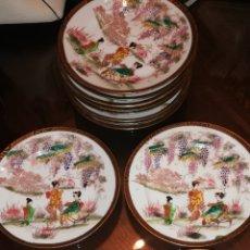 Antigüedades: 12 PLATOS DE PORCELANA JAPONESA PINTADOS A MANO CON SELLO ROJO MADE IN JAPAN. Lote 248071935
