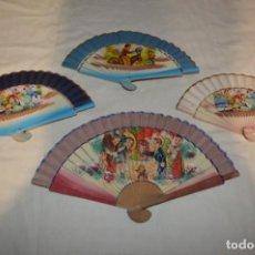 Antigüedades: 4 ABANICOS - AÑOS 60 - DECORADOS CON BONITAS IMÁGENES / DETALLES INFANTILES - ¡MIRA FOTOGRAFÍAS!. Lote 248081635