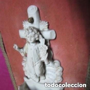 Antigüedades: BENDITERA DE BISCUIT MUY ANTIGUA Y BONITA BUEN ESTADO - Foto 3 - 248100020