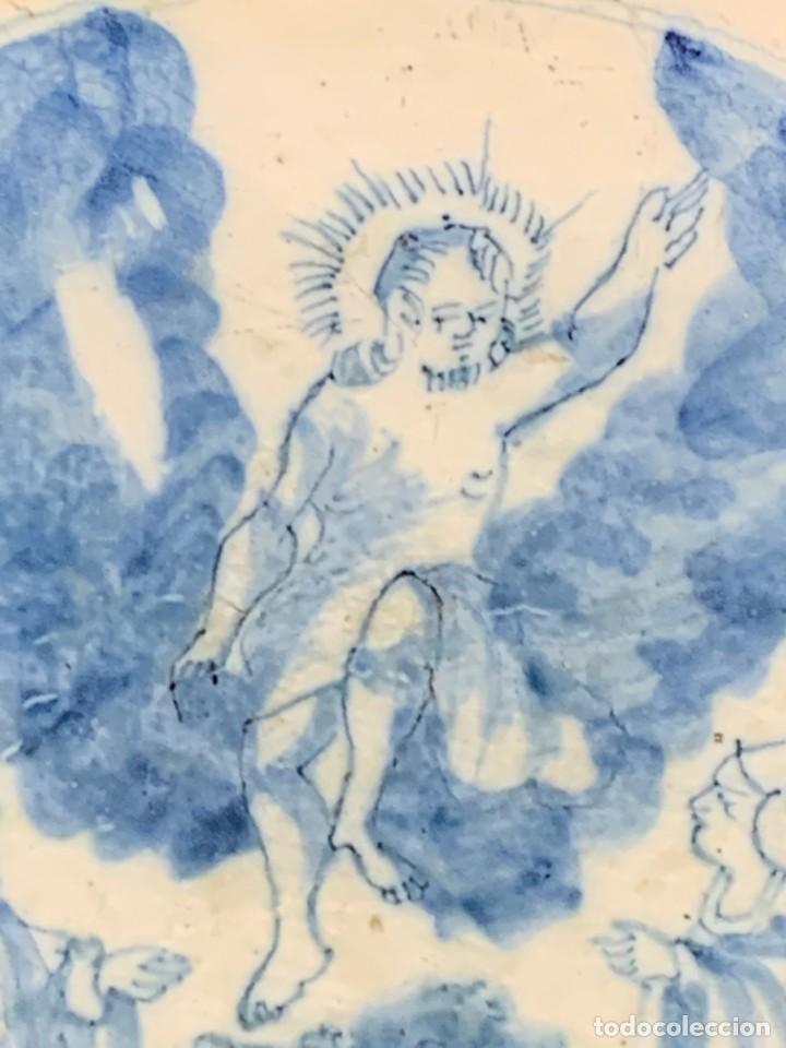 Antigüedades: RARA PLACA CERAMICA AZULEJO DELFT HOLANDA S XVIII MOTIVO RELIGIOSO RESURRECCION CRISTO SEÑOR 13X13CM - Foto 2 - 248128670